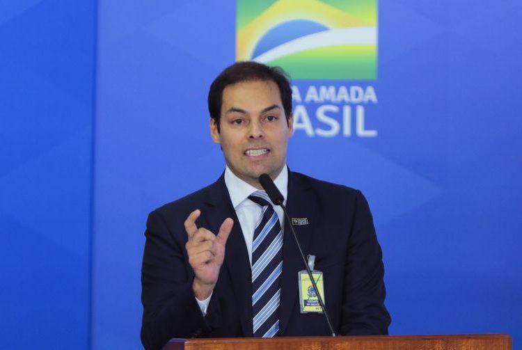 O secretário especial de desburocratização,Paulo Uebel, durante a  solenidade de assinatura da medida provisória da liberdade econômica.