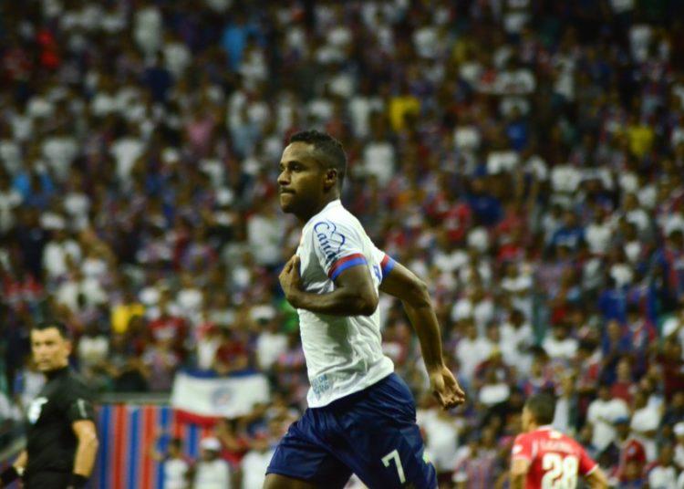 Elber marcou o terceiro gol do Bahia contra o Nacional-PAR Créditos: Jhony Pinho/AGIF
