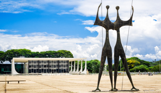 Brasilia, Brazil - November 18, 2015: View of Dois Candangos monument, built by Brazilian sculptor Bruno Giorgi in 1959 at Three Powers Square in Brasilia, capital of Brazil.