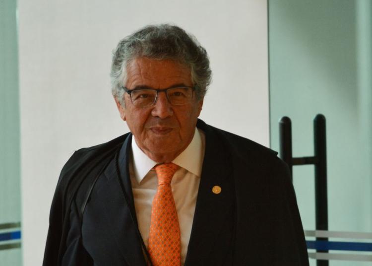 Ministro Marco Aurélio Mello, durante a segunda parte da sessão dehoje(23) parajulgamento sobre a validade da prisão emsegundainstância do Supremo Tribunal Federal (STF).