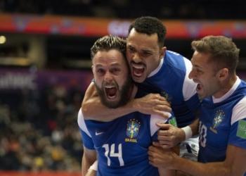 Brasil x Marrocos pelas Quartas de Final da Copa do Mundo de Futsal na Vilnius Arena Créditos: Thais Magalhães/CBF