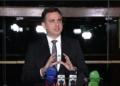 O presidente do Senado, Rodrigo Pacheco, durante entrevista após reunião remota com governadores / Foto: Reprodução TV Senado  Fonte: Agência Senado